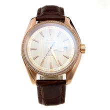 Omega Seamaster 18K Plated Gold Automatic Movement Rose Gold Case Diamond Bezel with White Dail-Leather Strap