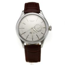 Rolex Cellini Automatic with White Dial-Leather Strap-4