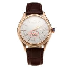 Rolex Cellini Automatic Rose Gold Case with White Dial-Leather Strap-1