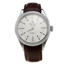Rolex Cellini Automatic with White Dial-Leather Strap-3