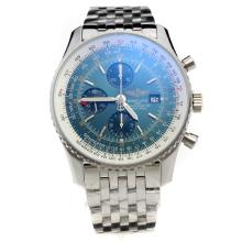 Breitling Navitimer Working GMT Chronograph Asia Valjoux 7751 Movement with Blue Dial S/S
