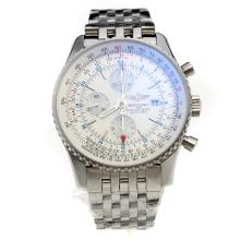 Breitling Navitimer Working GMT Chronograph Asia Valjoux 7751 Movement with White Dial S/S