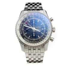 Breitling Navitimer Working GMT Chronograph Asia Valjoux 7751 Movement with Black Dial S/S