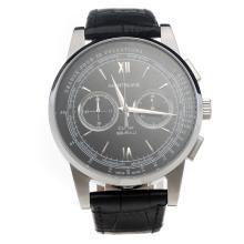 Montblanc Meisterstück Working Chronograph With Black Dial and Black Strap-1