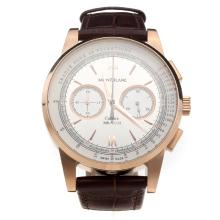 Montblanc Meisterstück Working Chronograph Rose Gold Case With White Dial