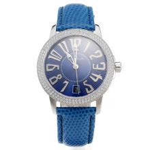 Blancpain Swiss ETA 2836 Movement Diamond Bezel With Blue Dial--Blue Leather Strap