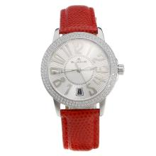 Blancpain Swiss ETA 2836 Movement Diamond Bezel With White Dial--Red Leather Strap