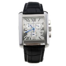 Cartier Tank Working Chronograph Roman Markings With White Dial--Leather Strap