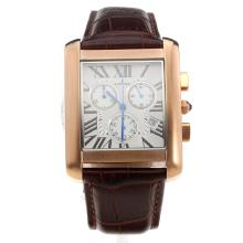 Cartier Tank Working Chronograph Rose Gold Case With White Dial