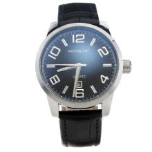Montblanc Time Walker Black Dial-Black Leather Strap