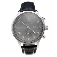 IWC Portuguese Swiss Valjoux 7750 Movement Number Markings With Gray Dial-Leather Strap