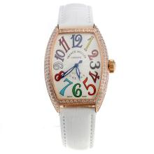 Franck Muller Casablanca Automatic Rose Gold Case Diamond Bezel with White Dial-White Leather Strap