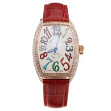 Franck Muller Casablanca Automatic Rose Gold Case Diamond Bezel Colourful Number Markings-Red Leather Strap