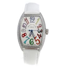 Franck Muller Casablanca Automatic Diamond Bezel White Dial with Colourful Number Markings-White Leather Strap