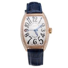 Franck Muller Casablanca Automatic Rose Gold Case Diamond Bezel with White Dial-Blue Leather Strap