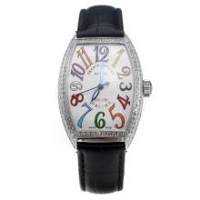 Franck Muller Casablanca Automatic Diamond Bezel with White Dial-Colourful Number Makings