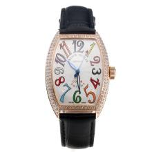 Franck Muller Casablanca Automatic Rose Gold Case Diamond Bezel Colourful Number Markings-Black Leather Strap
