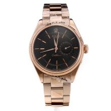Rolex Celline Dual Time Automatic Full Rose Gold with Black Radiation Dial-Stick Markings