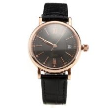 IWC Portofino Rose Gold Case Black Dial with Black Leather Strap-Lady Size