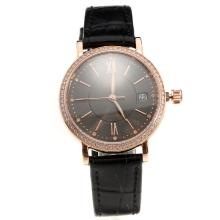 IWC Portofino Rose Gold Case Diamond Bezel Black Dial with Black Leather Strap-Lady Size