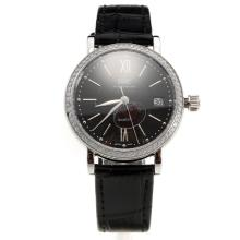 IWC Portofino Diamond Bezel Black Dial with Black Leather Strap-Lady Size