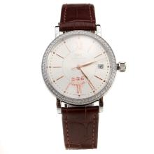 IWC Portofino Diamond Bezel White Dial with Brown Leather Strap-Lady Size