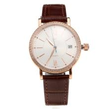 IWC Portofino Rose Gold Caes Diamond Bezel White Dial with Brown Leather Strap-Lady Size