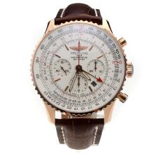 Breitling Navitimer Working GMT Chronograph Asia 7750 Movement Rose Gold Case with White Dial-Leather Strap