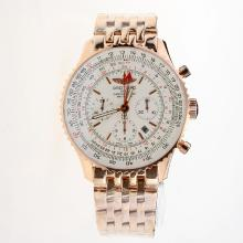 Breitling Navitimer Working GMT Chronograph Asia 7751 Movement Full Rose Gold with White Dial