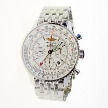 Breitling Navitimer Working GMT Chronograph Asia 7751 Movement with White Dial S/S
