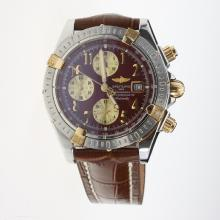 Breitling Chronomat Evolution Chronograph Swiss Valjoux 7750 Movement Two Tone Case Number Markers with Brown Dial-Leather Strap