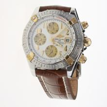 Breitling Chronomat Evolution Chronograph Swiss Valjoux 7750 Movement Two Tone Case Number Markers with White Dial-Leather Strap