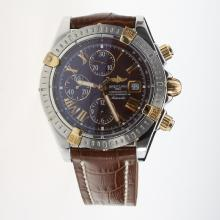 Breitling Chronomat Evolution Chronograph Swiss Valjoux 7750 Movement Two Tone Case Roman Markers with Brown Dial-Leather Strap