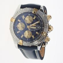 Breitling Chronomat Evolution Chronograph Swiss Valjoux 7750 Movement Two Tone Case Stick Markers with Blue Dial-Leather Strap