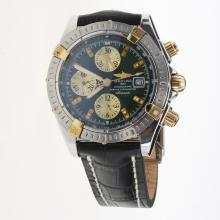 Breitling Chronomat Evolution Chronograph Swiss Valjoux 7750 Movement Two Tone Case Stick Markers with Black Dial-Leather Strap
