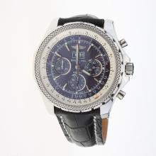 Breitling Bentley 6.75 Big Date Chronograph Swiss Valjoux 7750 Movement with Blue Dial-Leather Strap