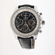 Breitling Bentley 6.75 Big Date Chronograph Swiss Valjoux 7750 Movement with Black Dial-Leather Strap