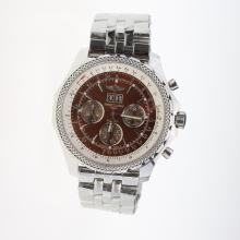 Breitling Bentley 6.75 Big Date Chronograph Swiss Valjoux 7750 Movement with Brown Dial S/S