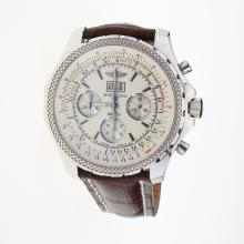Breitling Bentley 6.75 Big Date Chronograph Swiss Valjoux 7750 Movement with White Dial-Leather Strap