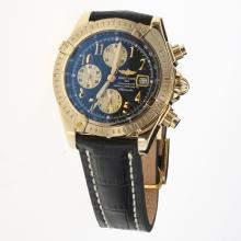 Breitling Chronomat Evolution Chronograph Swiss Valjoux 7750 Movement Gold Case Number Markers with Black Dial-Leather Strap