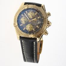 Breitling Chronomat Evolution Chronograph Swiss Valjoux 7750 Movement Gold Case Stick Markers with Gray Dial-Leather Strap