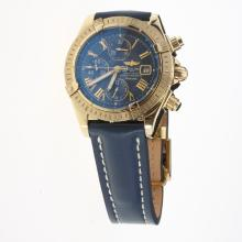 Breitling Chronomat Evolution Chronograph Swiss Valjoux 7750 Movement Gold Case Roman Markers with Blue Dial-Leather Strap