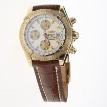 Breitling Chronomat Evolution Chronograph Swiss Valjoux 7750 Movement Gold Case Stick Markers with White Dial-Leather Strap