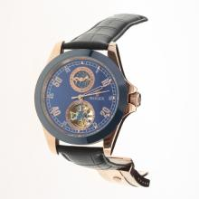 Rolex Automatic Rose Gold Case Ceramic Bezel with Blue Dial-18K Plated Gold Movement