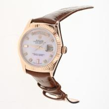 Rolex Day-Date 3156 Automatic Movement Rose Gold Case Diamond Markers with Pink MOP Dial-Leather Strap