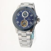 Rolex Automatic Ceramic Bezel with Blue Dial S/S-28K Plated Gold Movement-2