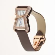 Cartier Rose Gold Case Diamond Bezel White Dial with Brown Leather Strap-Lady Size