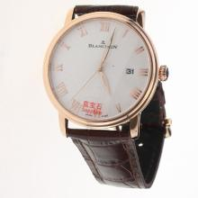 Blancpain Villeret Rose Gold Case Roman Markers with White Dial-Leather Strap