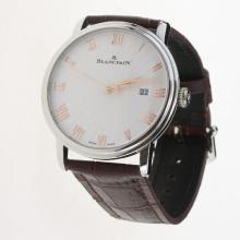 Blancpain Villeret Roman Markers with White Dial-Leather Strap-1