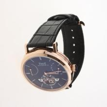 Piaget Altiplano Tourbillon Automatic Rose Gold Case with Black Dial-Leather Strap